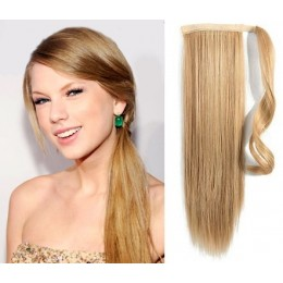 Clip in ponytail wrap hair extensions 24 inch straight - light blonde/natural blonde