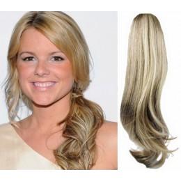Clip in human hair ponytail wrap hair extension 20 inch wavy - platinum blonde/light brown