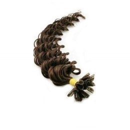 24 inch (60cm) Nail tip / U tip human hair pre bonded extensions curly - dark brown