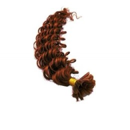 24 inch (60cm) Nail tip / U tip human hair pre bonded extensions curly - copper red