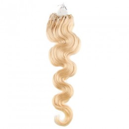 20 inch (50cm) Micro ring / easy ring human hair extensions wavy - the lightest blonde