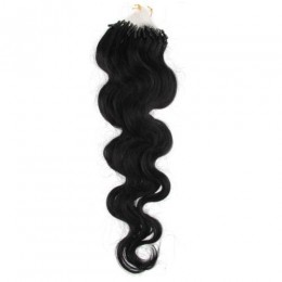 24 inch (60cm) Micro ring / easy ring human hair extensions wavy - black
