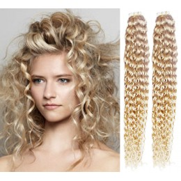 20 inch (50cm) Tape IN human REMY hair curly - platinum blonde