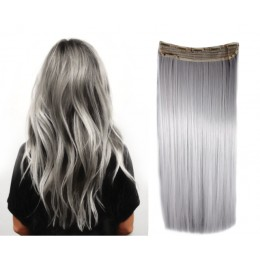 24 inches one piece full head 5 clips clip in kanekalon weft straight – platinum blonde