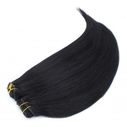 20 inch (50cm) Deluxe clip in human REMY hair - black