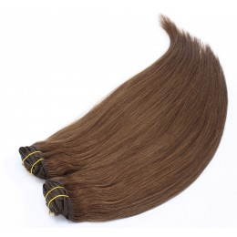 20 inch (50cm) Deluxe clip in human REMY hair - medium brown